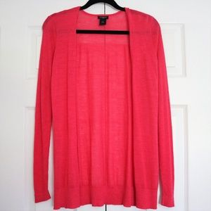 Ann Taylor Open Shirttail Hot Pink Cardigan Small